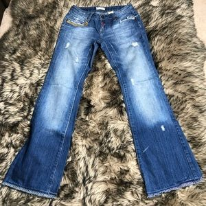 Z co Distressed detailed medium wash jeans